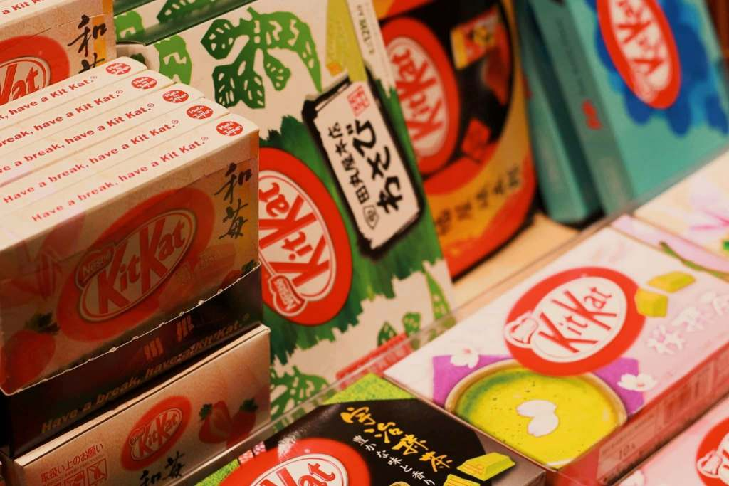 Assorted flavored Kit Kts from Japan, a famous candy that has begun to gain popularity around the world.