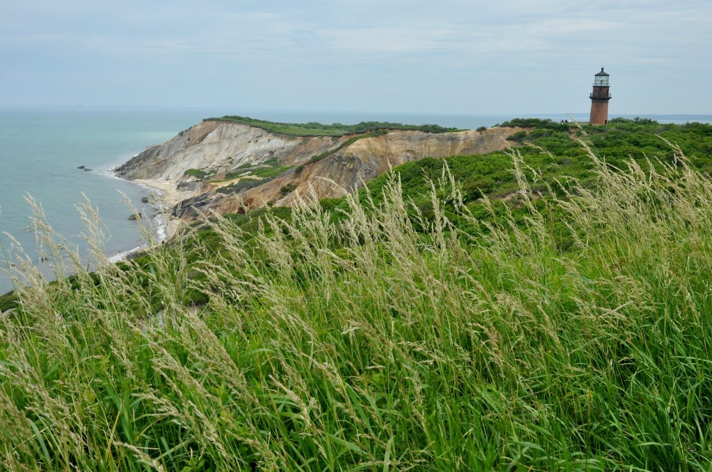 Iconic lighthouse on the cliffs of Martha's Vineyard, Massachusetts with sea grass blowing in the foreground.