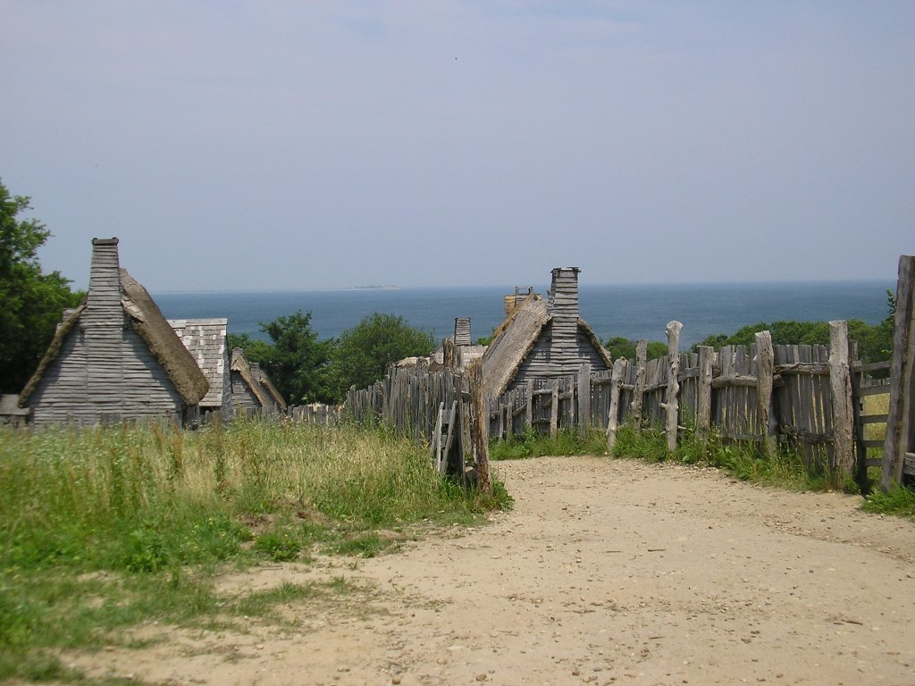 Rustic huts at Plimoth Plantations, Massachusetts, an excellent day trip idea from Boston.
