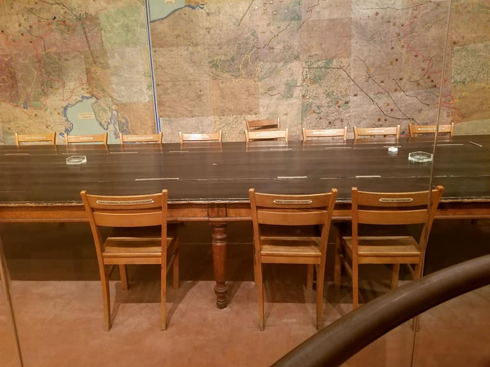 The table where Jodl signed the surrender of Germany during WWII in Reims, France.
