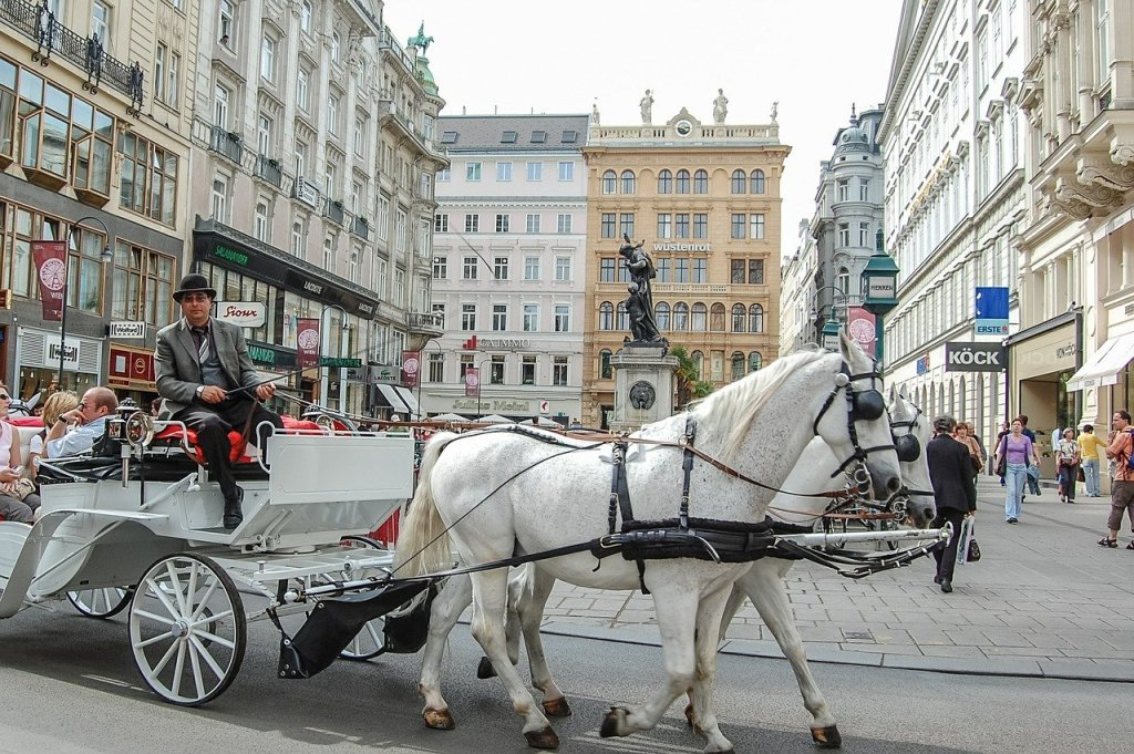 Pale hued buildings and horse-drawn carriage in Vienna, Austria.