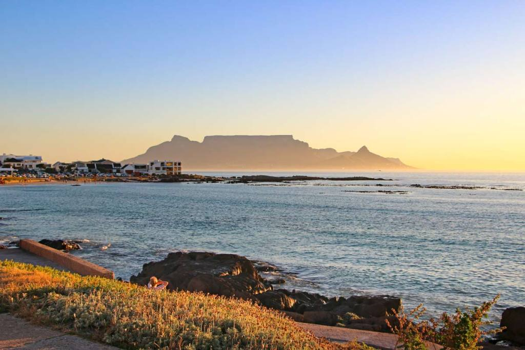 Beaches in Cape Town, South Africa during golden hour.