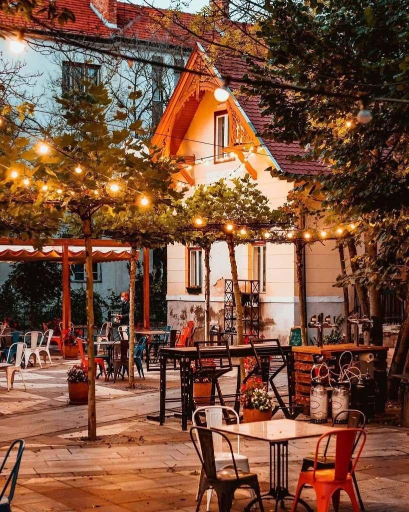 Terrace outside at Colin's Gastropub in Cluj-Napoca, Romania.