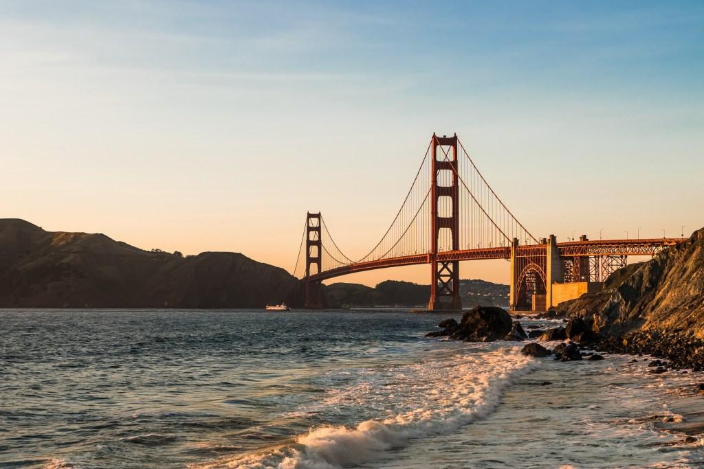 Golden Gate Bridge at sunset in San Francisco, California.