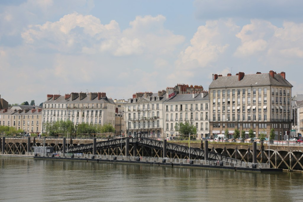 The city of Nantes seen by the water in France, one of the best destinations for digital nomads in Europe.