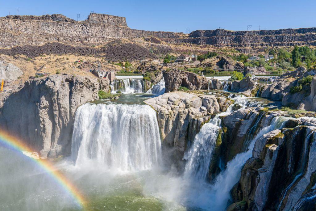 Rainbow over Shoshone Falls in Boise, Idaho.