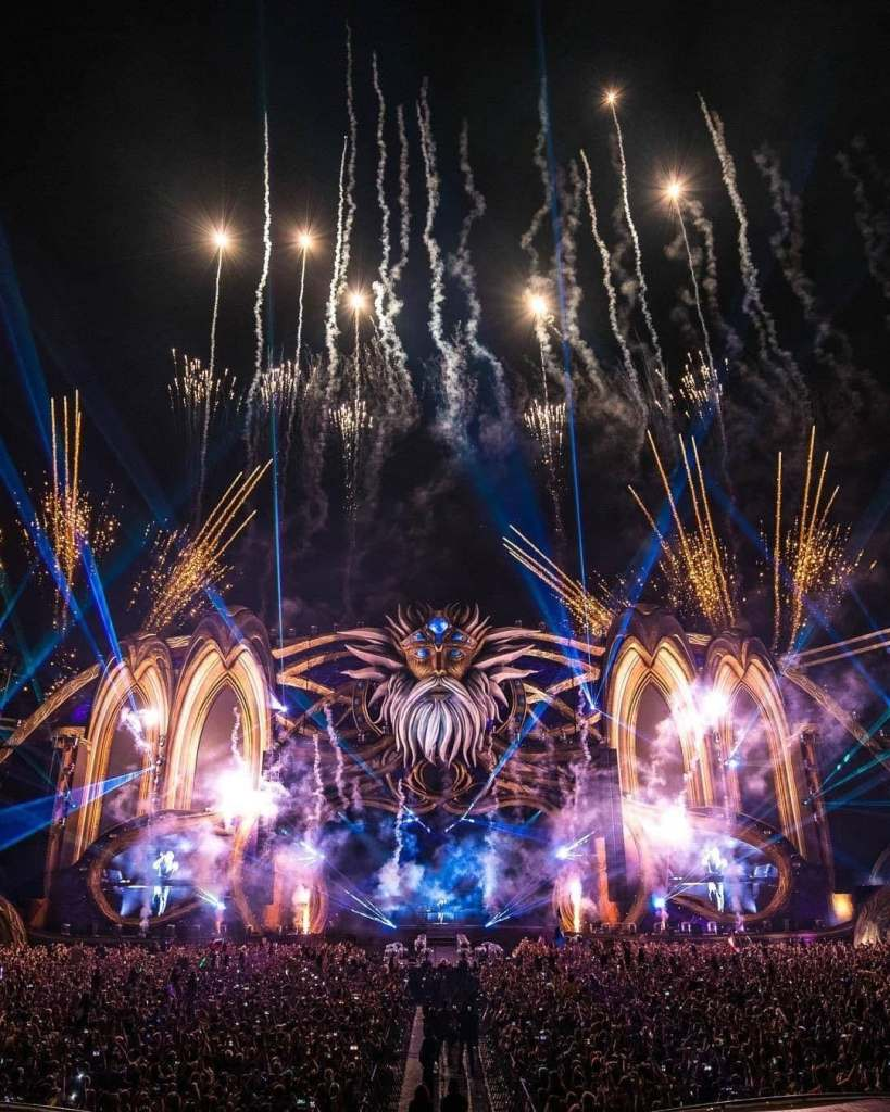 Large light display inside the Cluj Arena during the annual Untold Festival in Cluj-Napoca, Romania.