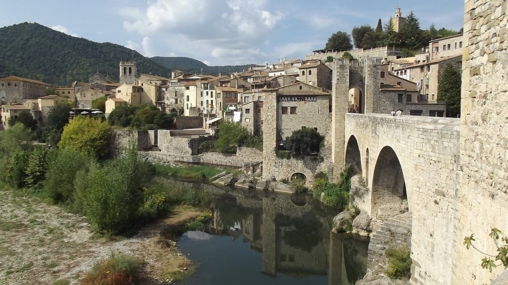 Medieval town structure of Besalu, Spain, an easy day trip from Barcelona.