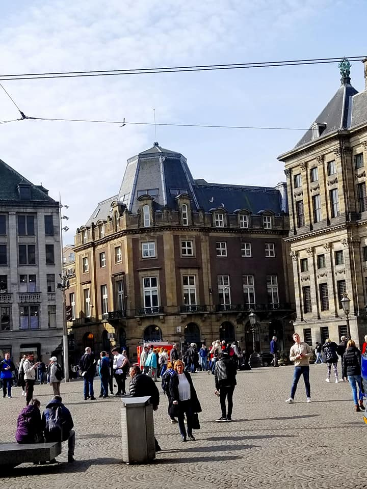 Dam Square in Amsterdam, one of the prominent historical sites of WWII and the Dutch Resistance.
