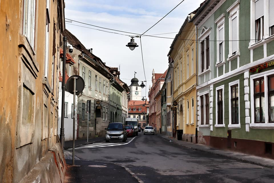 Empty street in Sibiu, Romania during the lockdown