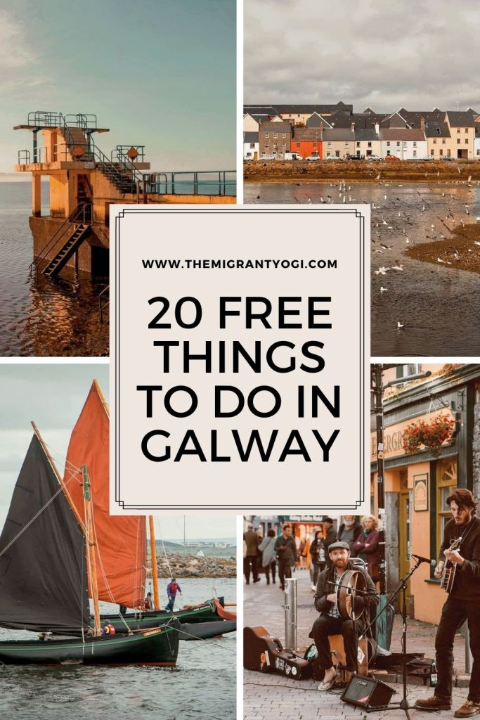 "Pinterest graphic showing four different images of Galway with text ""20 Free Things to do in Galway"""