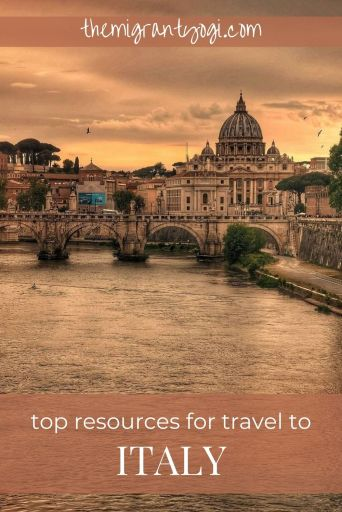 Pinterest graphic depicting Ponte Umberto I in Rome with text: Top resources for travel to Italy.