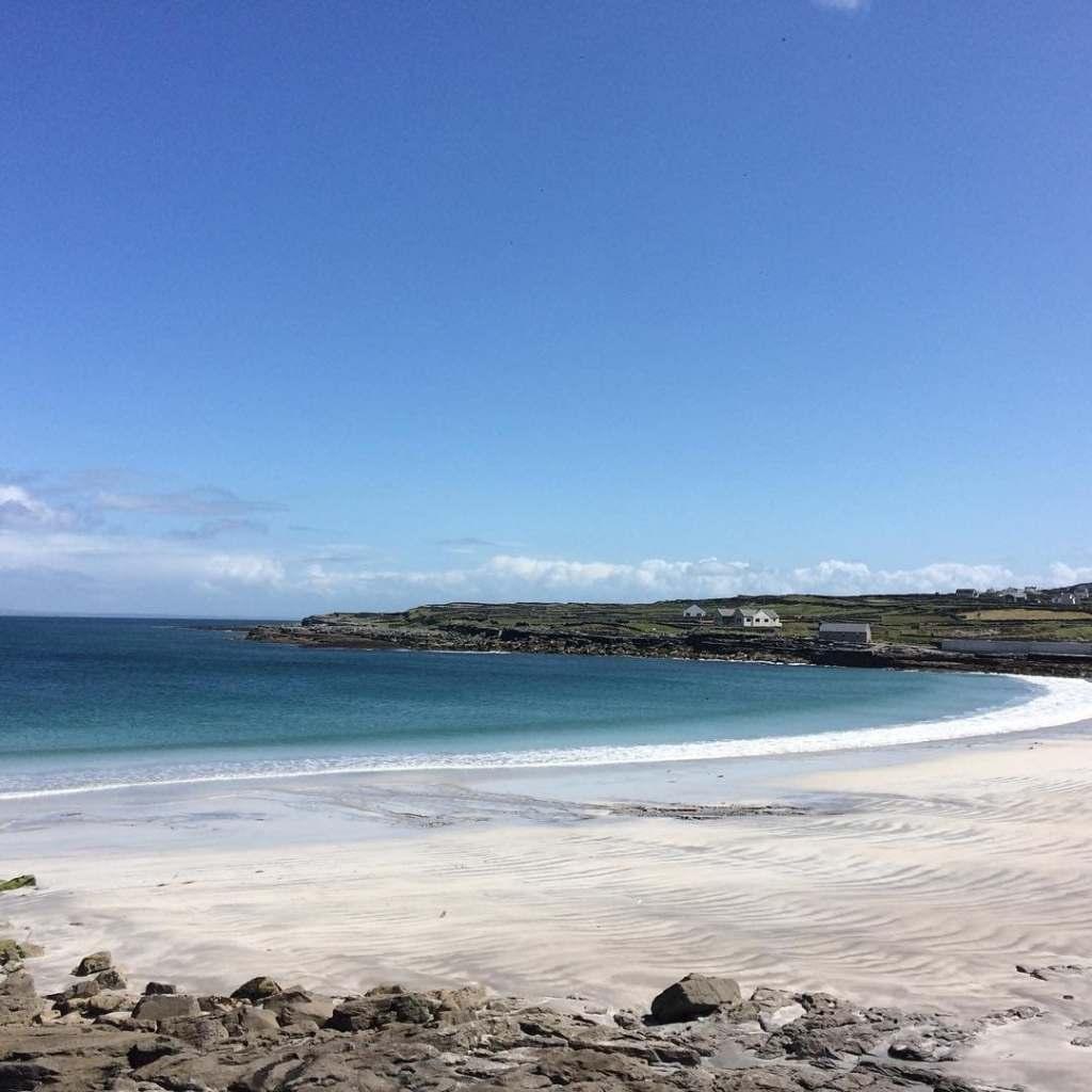Soft white sand on Kilmurvey Beach on the island of Inis Mor in Ireland.