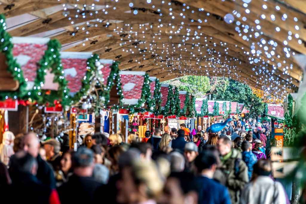 Crowds of people visiting the many booths set up in Montreaux, Switzerland's Christmas market.  Twinkling white lights are hung from the ceiling.