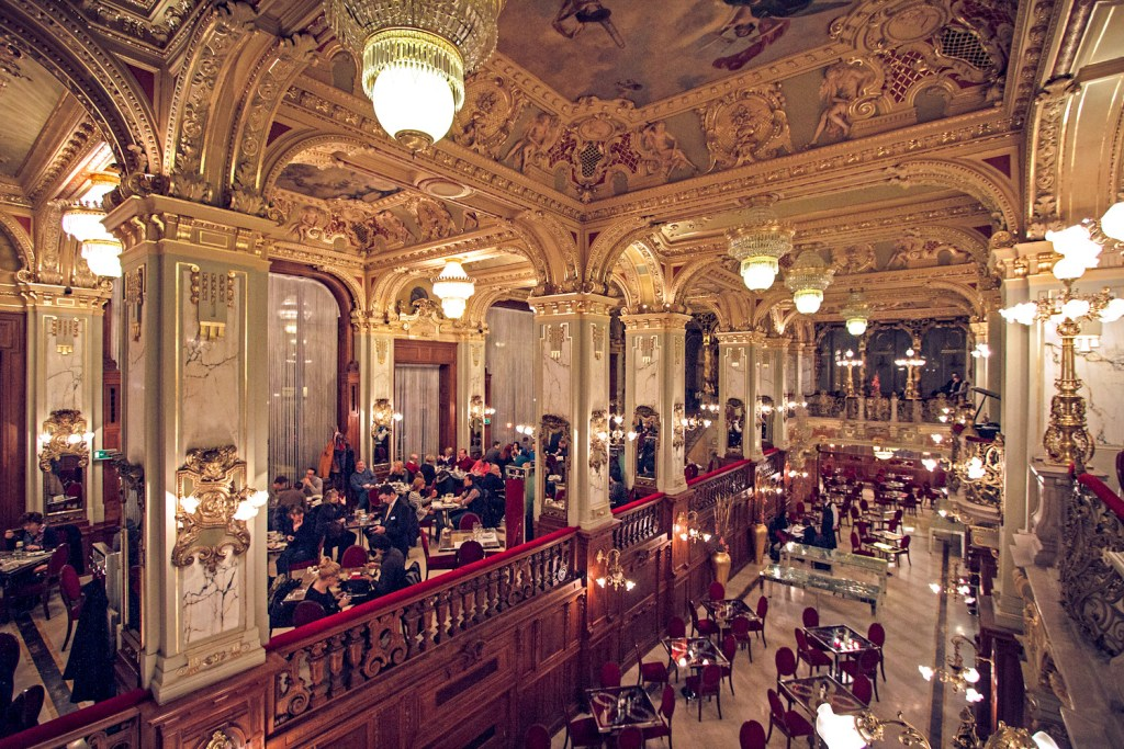 Interior of New York Café in Budapest, one of the most beautiful cafes in the world, perfect for relaxing in Budapest.