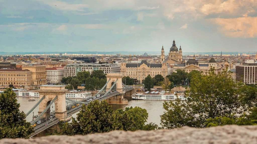 Overlooking the Danube river in Budapest from one of the city's many hills.