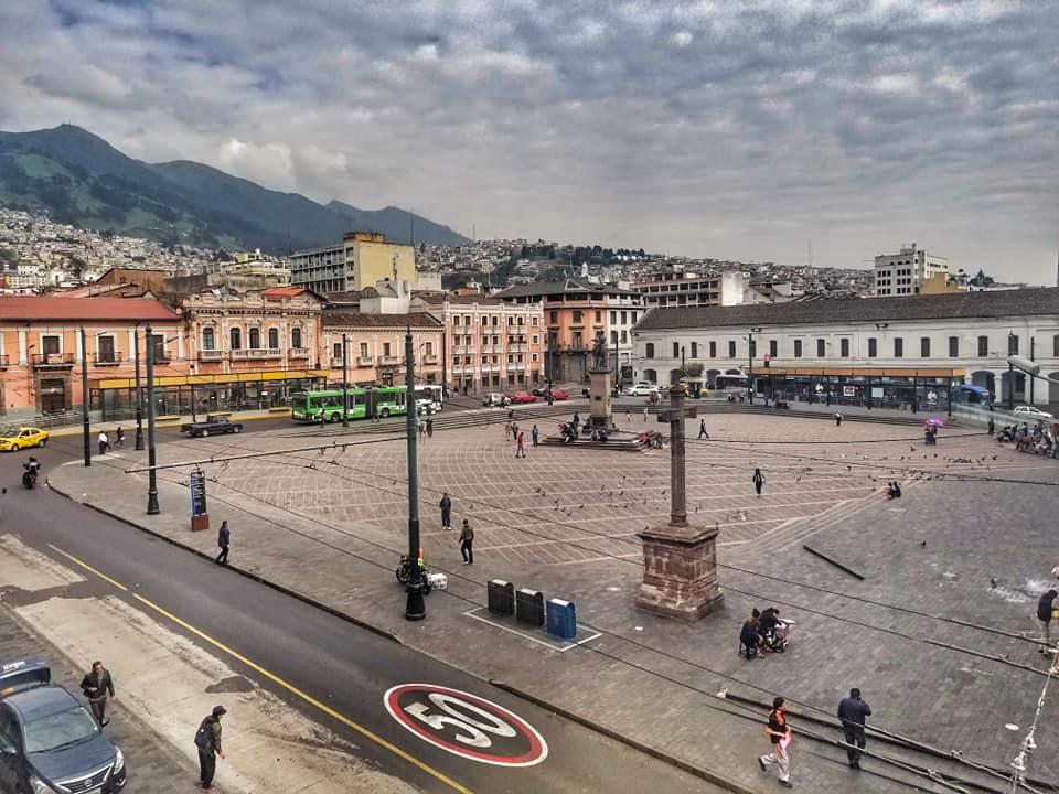 Overlooking Plaza Santo Domingo in Quito, Ecuador (from  hotel room)