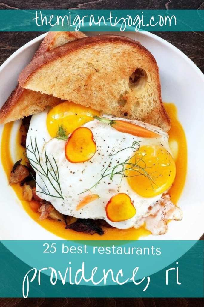 Pinterest graphic of duck eggs benedict with text: 25 best restaurants in Providence, RI.