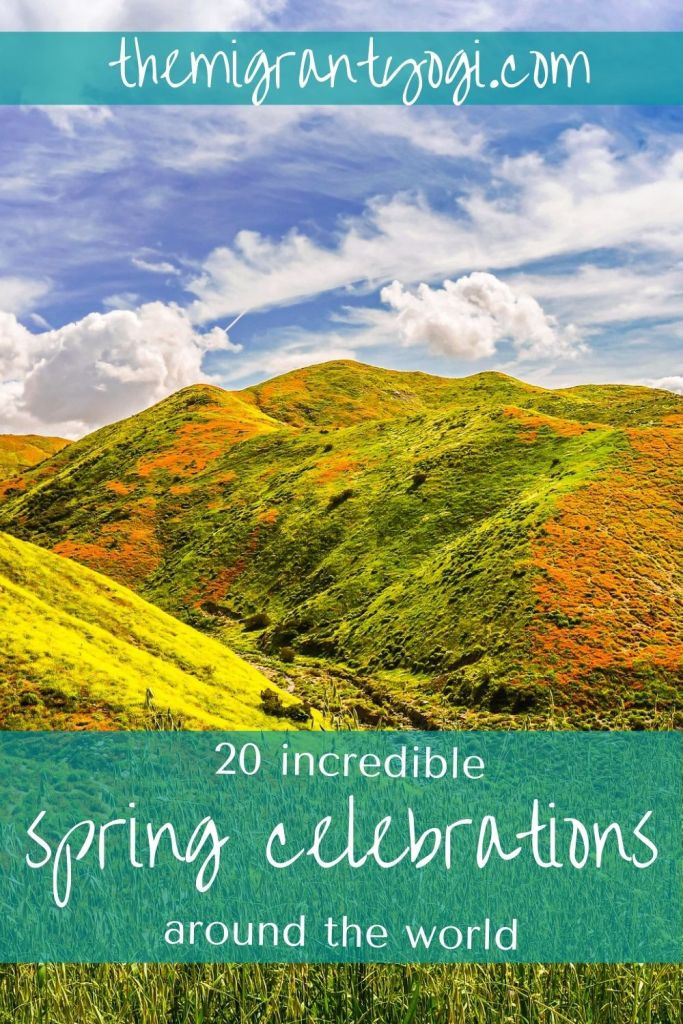 Pinterest graphic, California wildflowers with text 20 incredible spring celebrations around the globe.