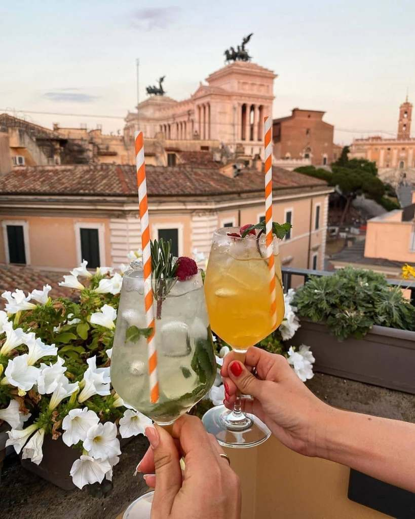 Springtime cocktails at the American Rooftop Bar in Rome.