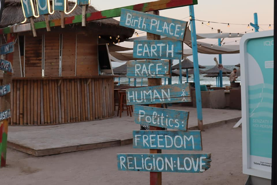 Sign in Vama Veche that denotes its liberal mentality - Birth place: Earth; Race - Human, Politics: Freedom, Religion: Love