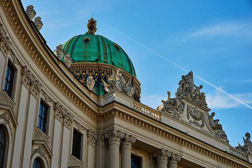 Seafoam green domed roof of the Hofburg in Vienna, one of Austria's most famous landmarks.
