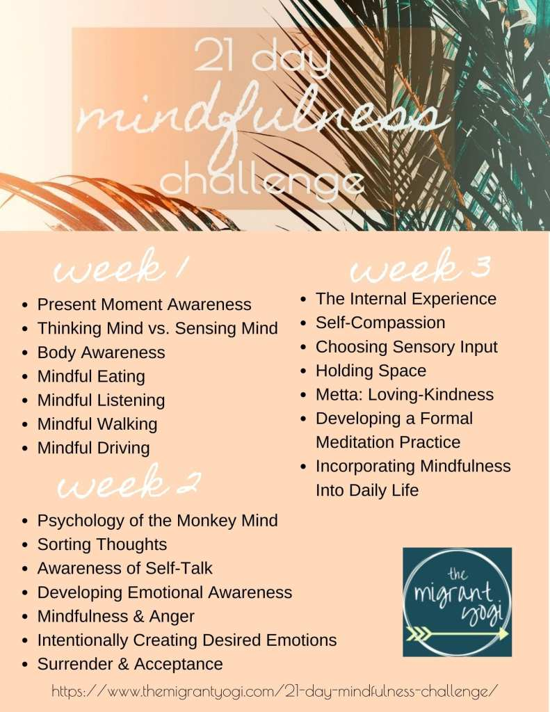 21 Day Mindfulness Challenge Flyer