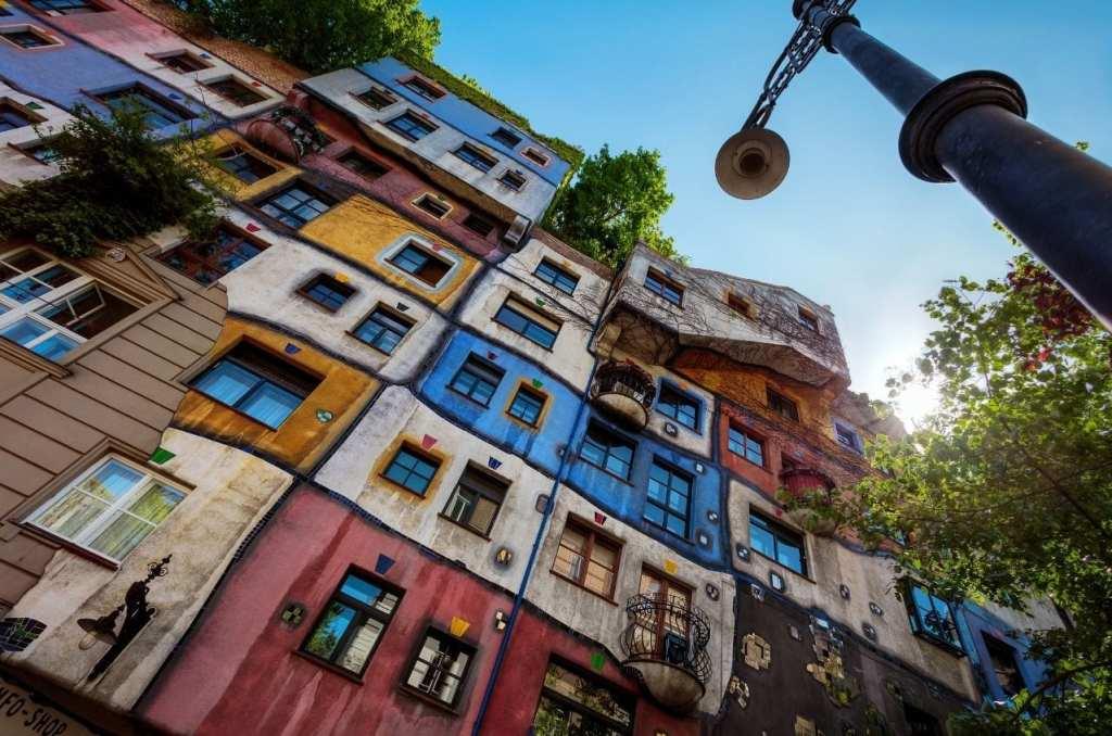 Hundertwasser Village, colorful building façade in Vienna, Austria.