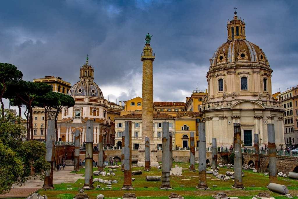 Trajan Column architecture in Rome, Italy.