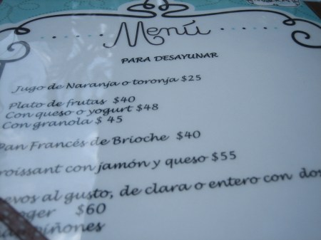 The menu at Maison Belen in Polanco