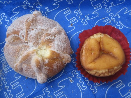 Pan de Muerto and a cheese-filled muffin from Pastelería Suiza in Col. Condesa, Mexico City