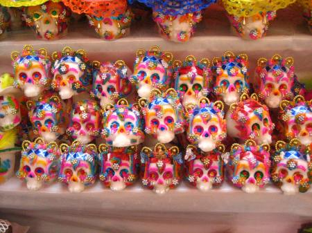 Sugar skulls, made by a pair of brothers from Metepec, a city east of Toluca