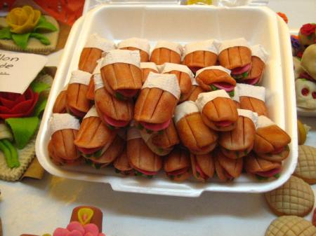 Tiny candies shaped like Mexican tortas, sold at the sugar skull market in Toluca, also known as the Feria de Alfeñique