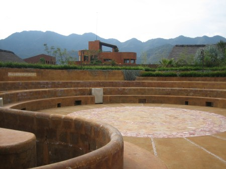 Inside the center of the labyrinth, at the Ollinyotl Spa at Malinalco, Mexico