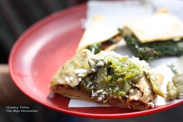 A three-bite sized tlacoyo, on an Eat Mexico tour.