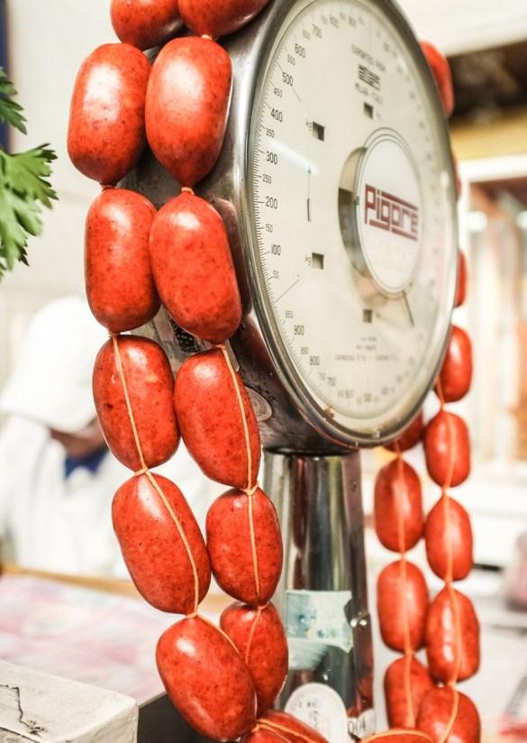 Chorizo at a neighborhood market.