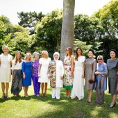 Argentine First Lady Juliana Awada received partners of G20 leaders at Villa Ocampo