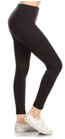 Solid Black Hello Pink Leggings