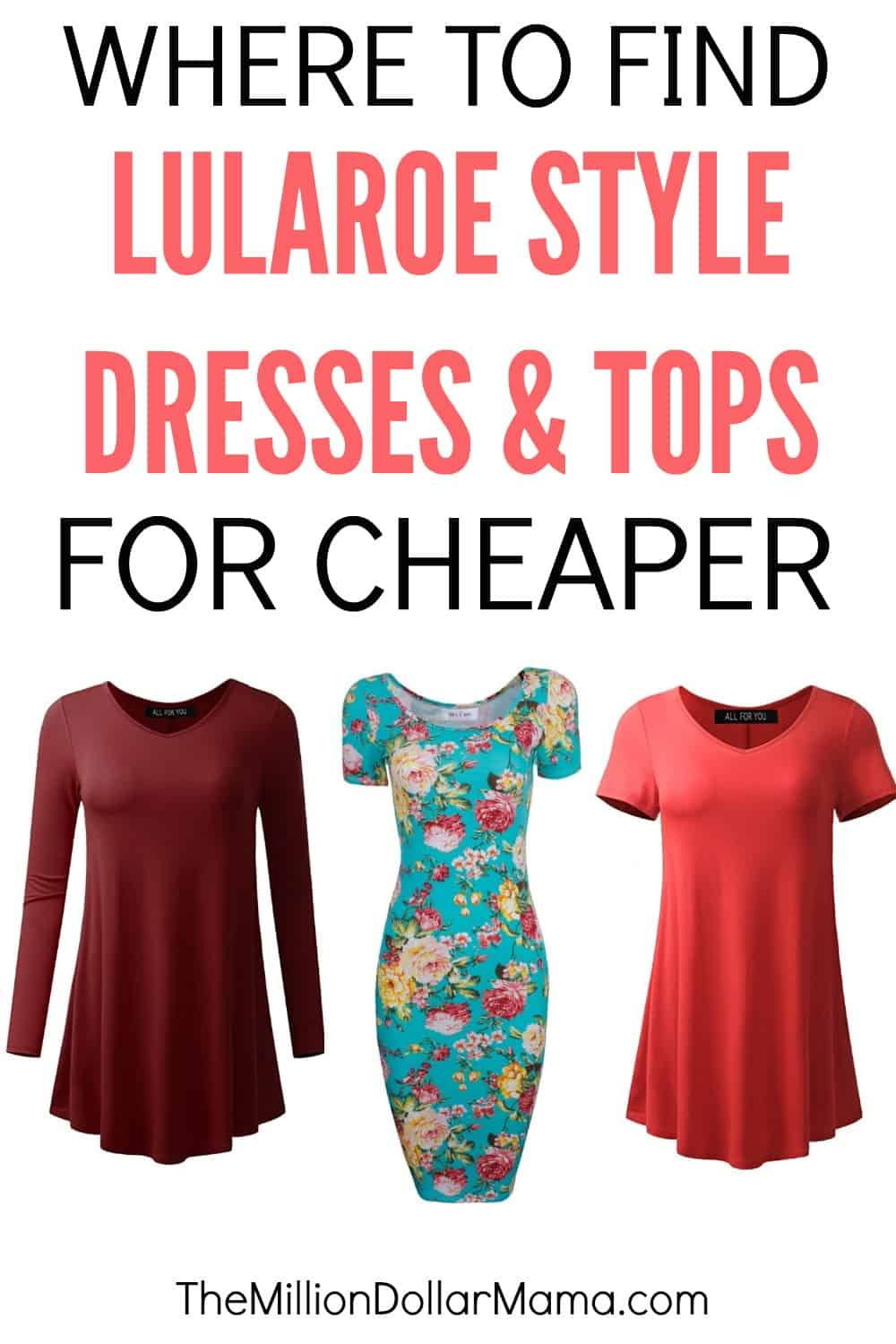 Looking for a cheaper alternative to Lularoe dresses and tops, like the Irma, Carly, Nicole, etc? Click through to find out my favorite Lularoe dupes!
