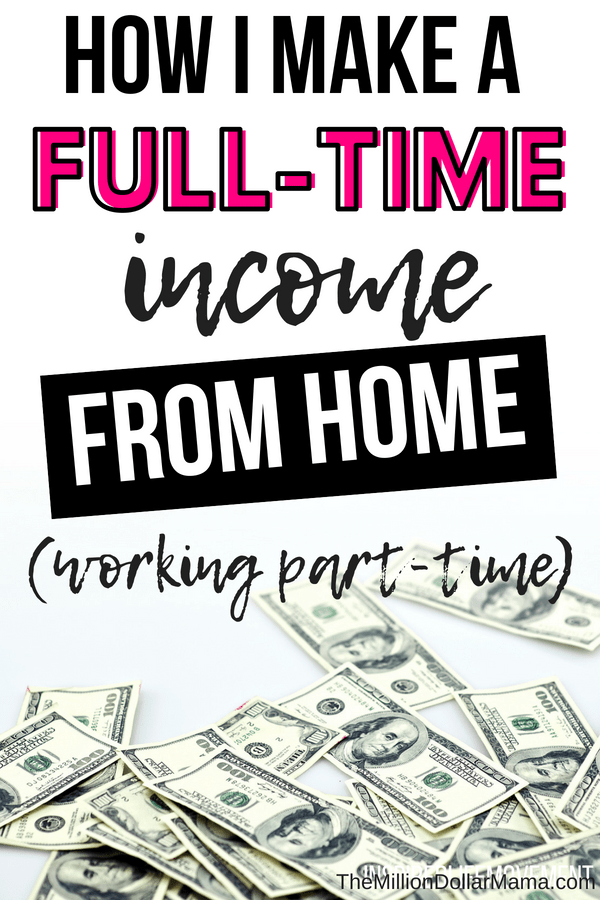 How to make a full time income from home, working part time hours. #makemoneyonline #makemoneyfromhome #howtomakemoneyfromhome
