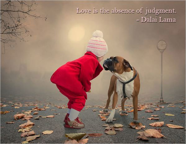 Child and dog - Deep love quote by Dalai Lama