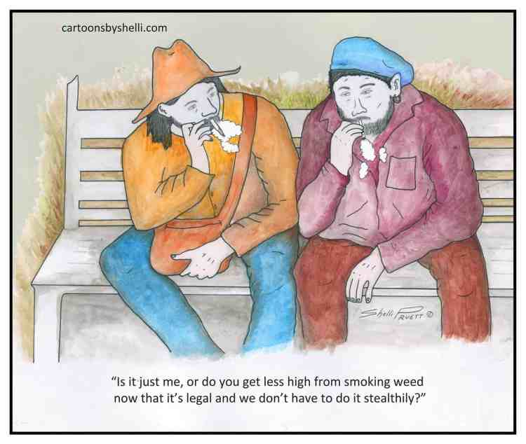 Cartoon of two men smoking legal weed - Legal weed might be less fun