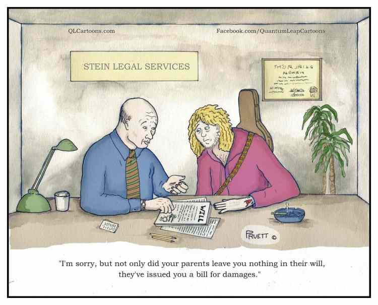 Cartoon of man receiving bill for damages through parents' will - An unexpected bill for damages