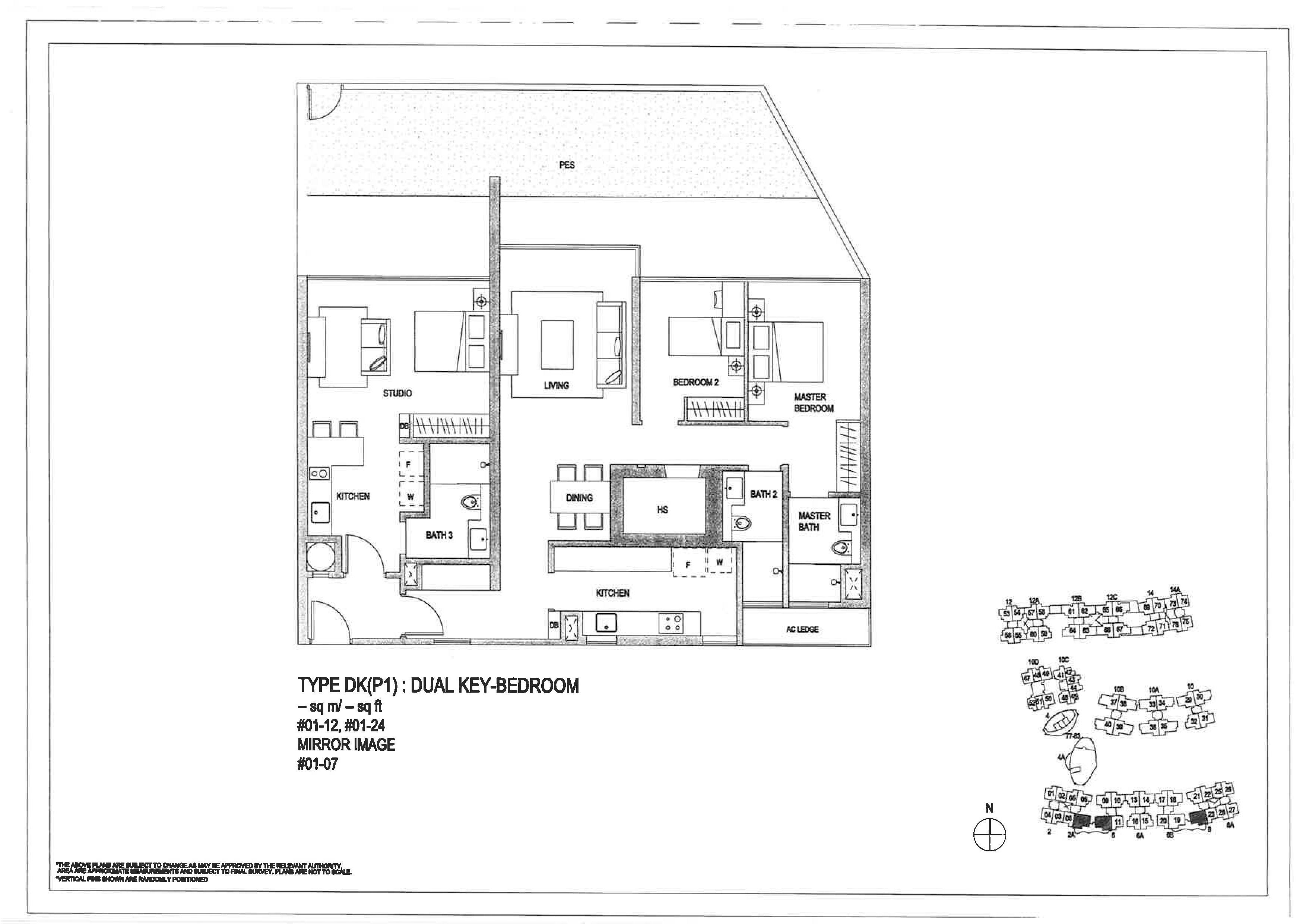 The Minton 3 Bedroom Dual Key Floor Plans Type DK(P1)