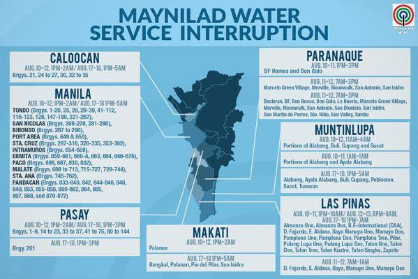 maynilad august water interruption schedule