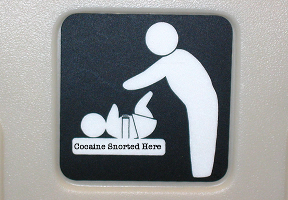 cocaine snorted on changing tables
