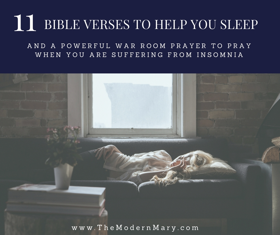 11 powerful Bible scripture verses to help you when you can't sleep. Plus a free printable war room prayer! #warroomprayer #bibleverse #warroom