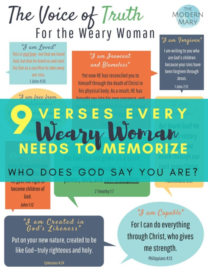 The Voice of Truth. 9 verses that every woman who is weary needs to memorize. Find out who God says you are. #summergoals #proverbs31 #gracegirls #scripturememorization #bibleverse #depression #anxiety