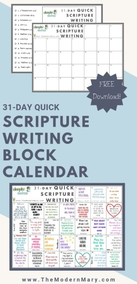 31 Day Quick Scripture Writing Block Calendar and Guide