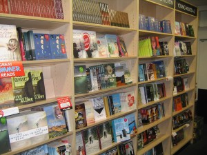 The new Zealand fiction shelf at Whitcoulls, Auckland